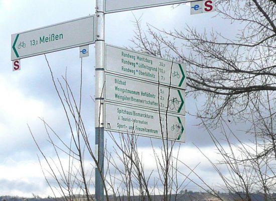Wegweiser Elberadweg